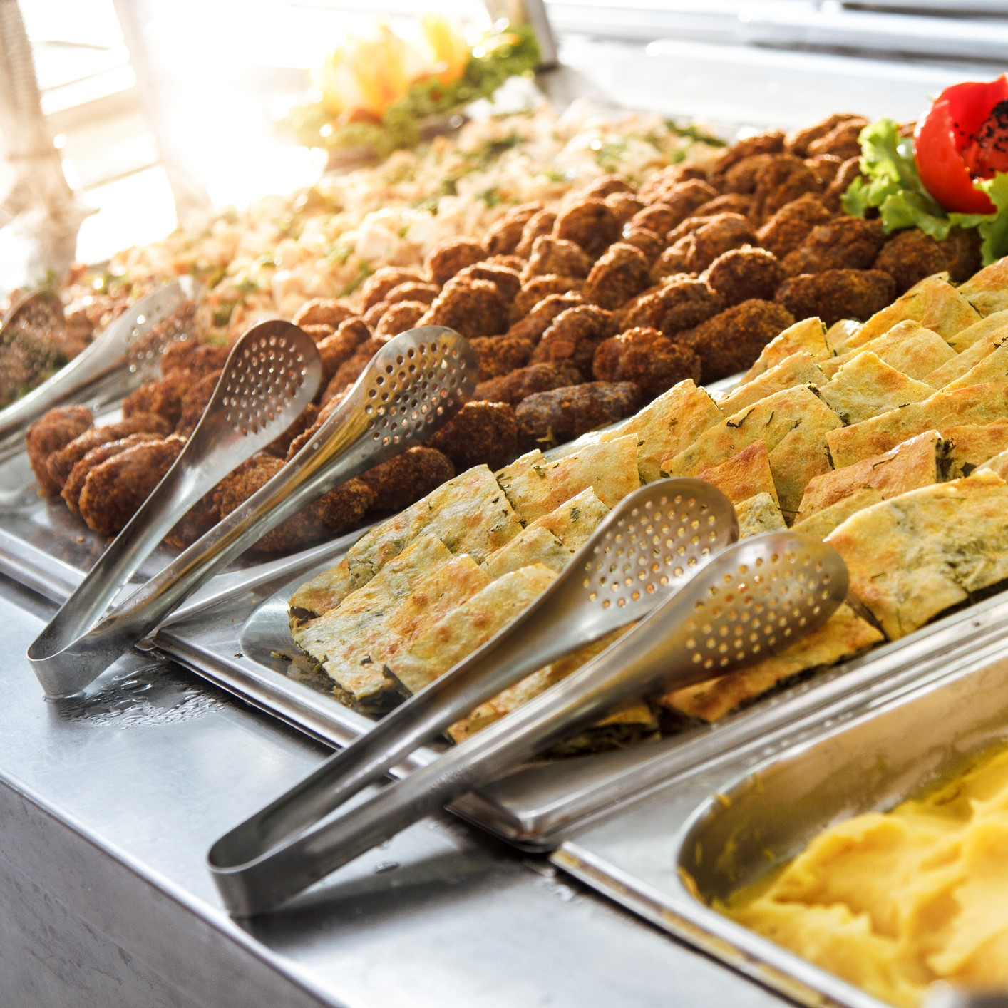 Table of buffet food